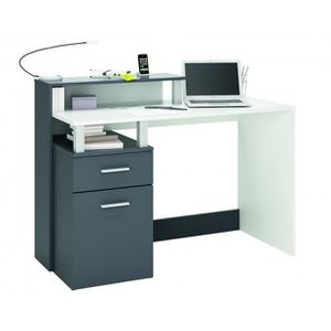 bureau multimedia 1 porte1 tiroir oracleblanc gris
