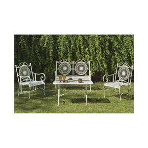 Salon de jardin 1 canape 2 fauteuils table basse - Achat / Vente ...