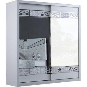 ARMOIRE DE CHAMBRE Armoire design 2 portes coulissantes laqué blanc e