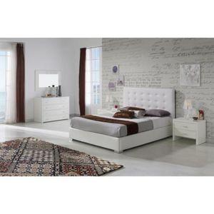 STRUCTURE DE LIT Lit GRANTI 140x190-200cm en PU blanc - L 200 x l 1