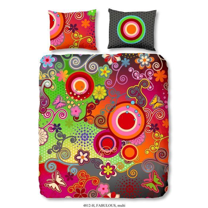 Matière : 100% Satin de coton - Dimensions : 200x200 / 60x70 cm - MulticolorePARURE DE COUETTE