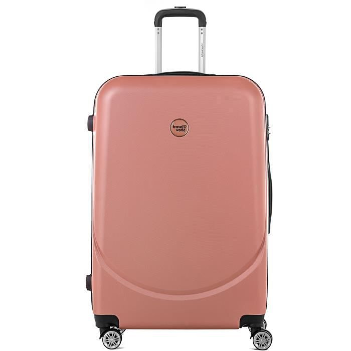 TRAVEL WORLD Trolley Case XXL 80cm avec 4 roues Or Rose