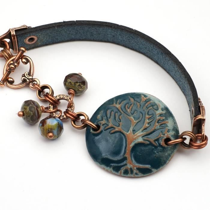 Femmes Bleu Céramique Et Bracelet en cuir avec des perles de verre arbre et facettées 7 1-2 pouces de long XBWRW