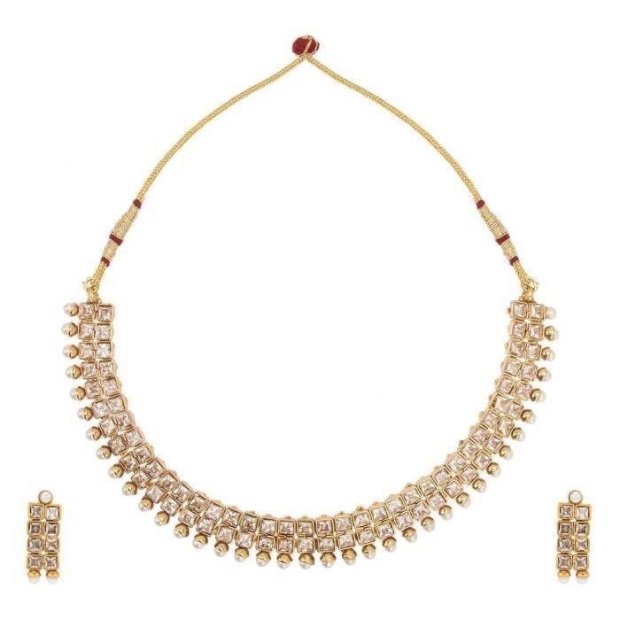 Femmes en métal blanc de mariée en alliage avec collier Ensemble de bijoux et boucles doreilles pour dames MZ3FI