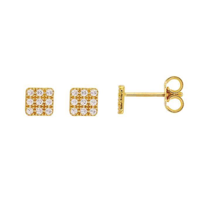 Jouailla - Boucles doreilles carré en Or 375-1000e et oxydes de zirconium (393341)