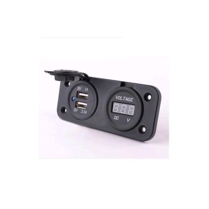 CHARGEUR DE BATTERIE 2 USB Ports Chargeur LED Avec DC Voltmètre Numériq