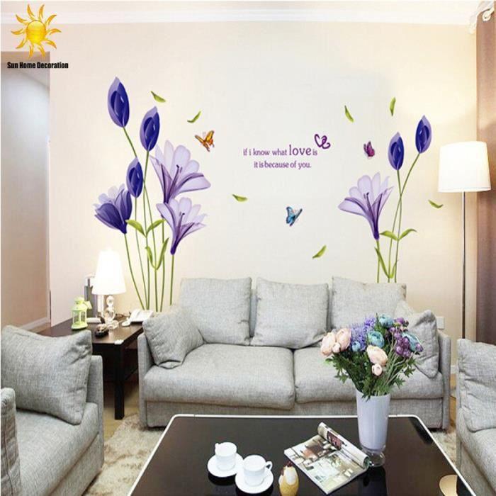 Violet tulipes fleurs stickers muraux pour salon 3d - Stickers muraux salon ...