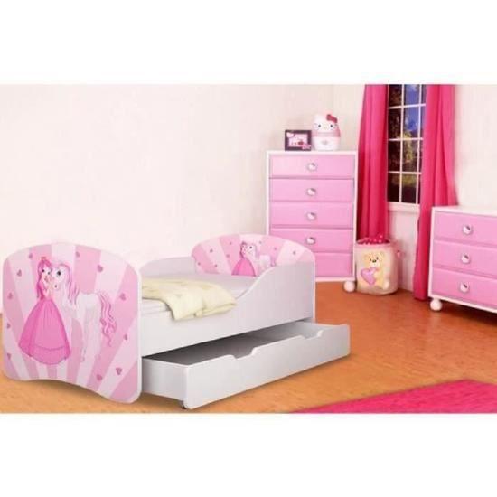 lit gigogne blanc en bois motif princesse avec sommier et. Black Bedroom Furniture Sets. Home Design Ideas