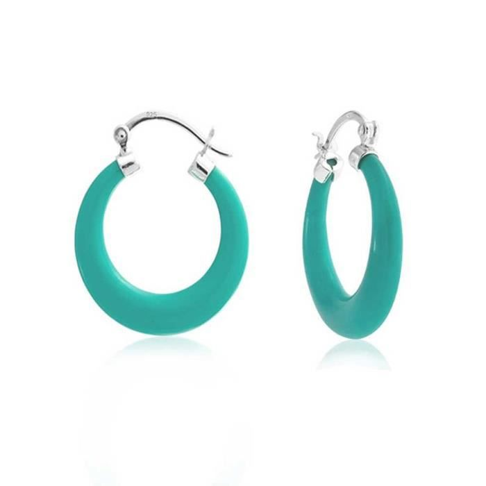 925 Argent Sterling Turquoise Moyen Hoop Boucles