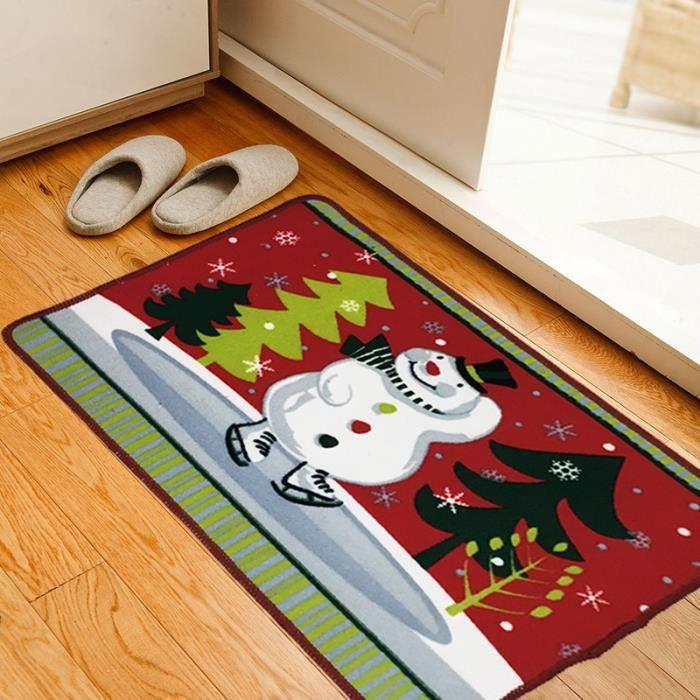 tapis absorbant anti d rapant motif no l pour salle de bain chambre rouge snowmen achat. Black Bedroom Furniture Sets. Home Design Ideas