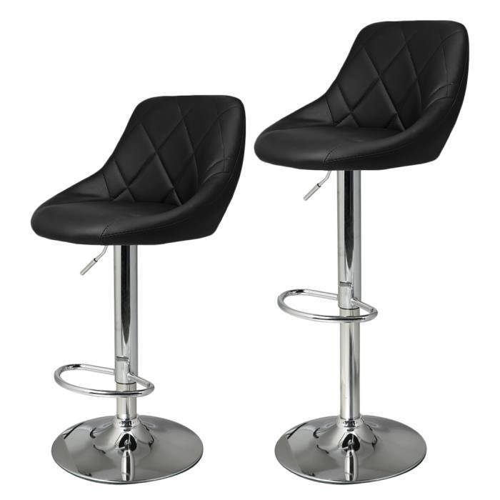 2Pcs Chaise De Bar Tabouret Cuir Synthtique Rglable Rotative Du Hauteur