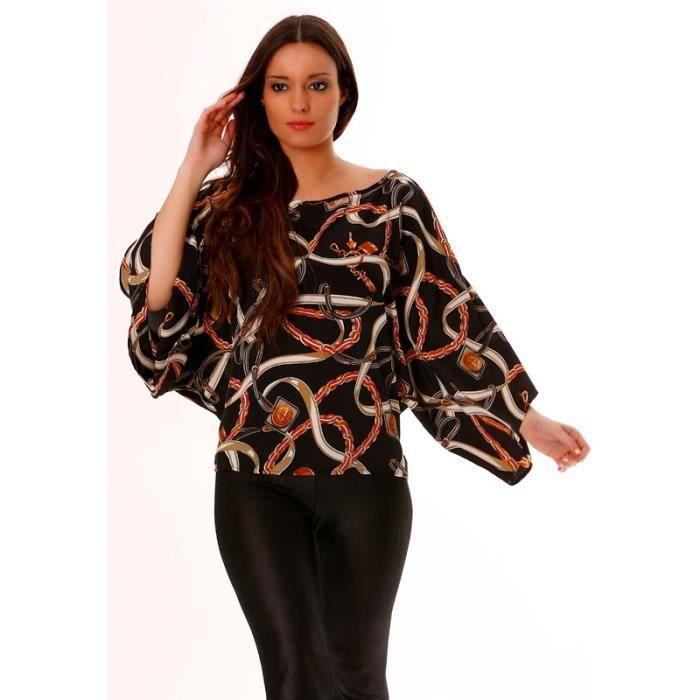 2e3f8f41a687b Miss Wear Line - Tunique noir et rouge style chauvesouris pour femme avec  motifs fashion