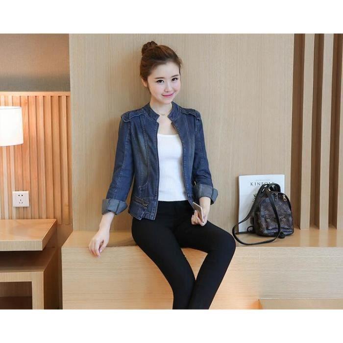 Veste jean femme bomber jacket courte manche longue Boyfriend style Grande  taille automne printemps manteau en denim fille 153b674d1b09