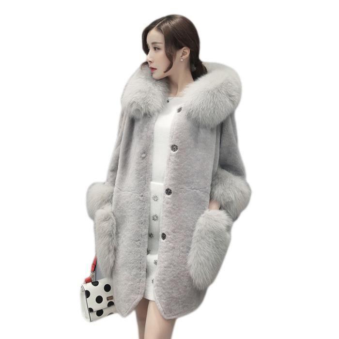 veste manteau fausse fourrure femme mode manches longues chaud hiver automne hiver gris gris. Black Bedroom Furniture Sets. Home Design Ideas