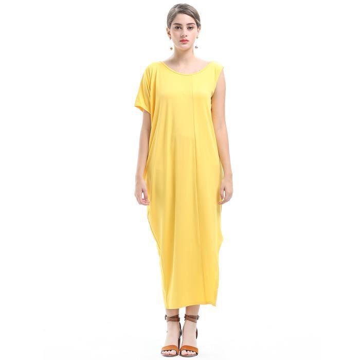 Robe Femme Printemps et dété longue en Polyester col rond loose fit Couleur Unie mode Jaune SIMPLE FLAVOR
