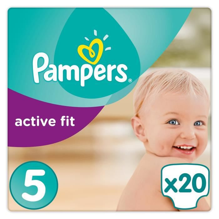 COUCHE PAMPERS Active Fit Taille 5 - 11 à 23 kg - 20 couc