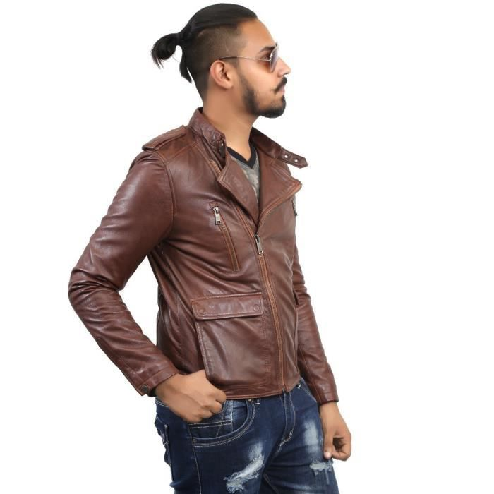 Style coréen hommes Side Zip Brown Veste en cuir HY9BL Taille-L