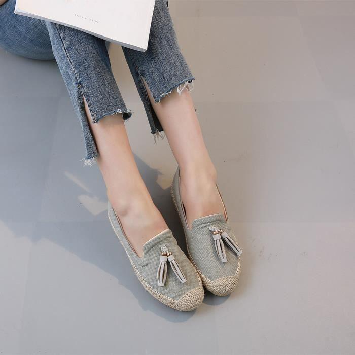 Flats Slacker Les Femmes Casual Confortable Glands Chaussures De Sur Ballet Vert Slip 8H7RqT