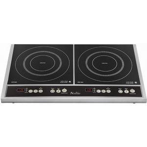 NAELIA CGF-06903 Plaque de cuisson induction-2 foyers-3400W-L58xP35cm-Rev?tement verre-Noir
