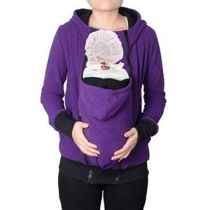 cd74d6077349 Automne hiver kangourou bébé transporteur hoodies sweatshirt, mère  babywearing veste kangourou multi-fonctionnelle violet