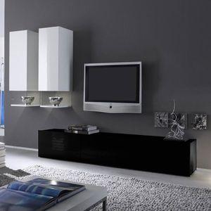 Ensemble Meuble Tv Noir Et Blanc Laque Design Six Achat