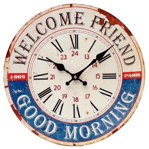 Horloge murale bois et metal achat vente horloge murale bois et metal pas cher soldes d s for Horloge murale style bistrot