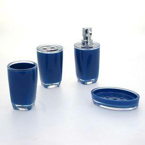 4 Accessoires de salle de bain Glossy - Bleu - Achat / Vente set ...