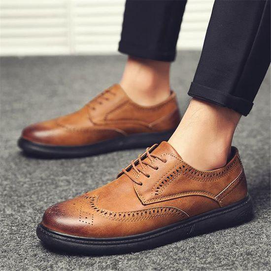 5581b497f0bc Derbies Hommes Meilleure Qualité Cuir Chaussure Rétro Chaussure Confortable  Respirant Nouvelle arrivee Grande Taille 40-44 Marron Marron - Achat   Vente  ...