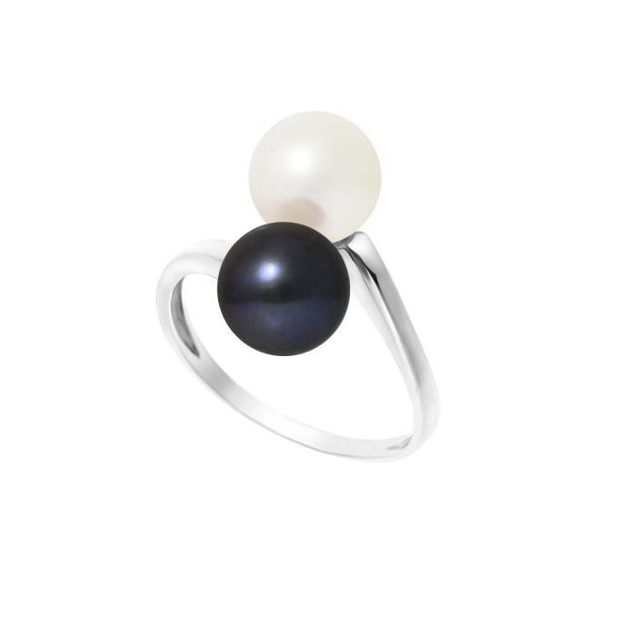 PERLINEA Bague Perles de Culture et Or Blanc 375° Femme