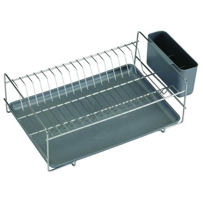 SAUVIC Égouttoir à vaisselle inoxydable avec plateau - Plat - Gris