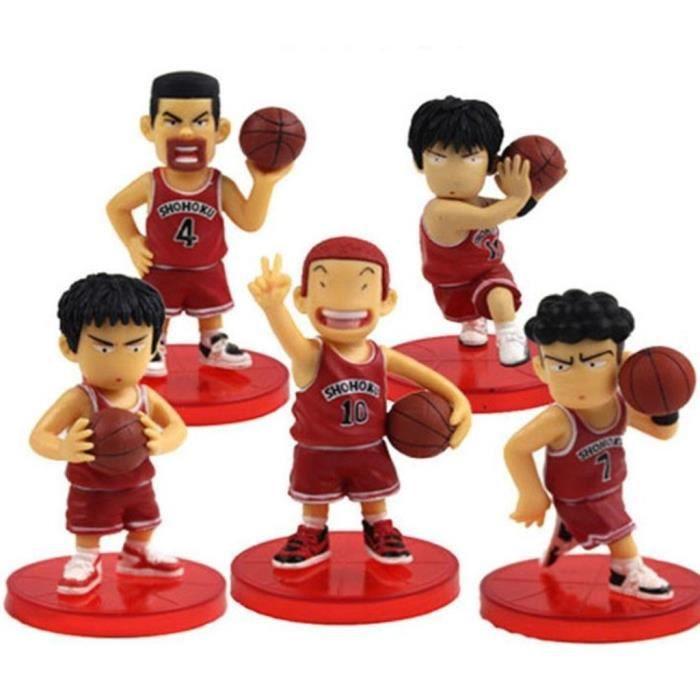 Mignonne! Jeu de 5pcs Slam dunk joueurs de basket-7cm 8cm PVC Figure sur la base en vrac