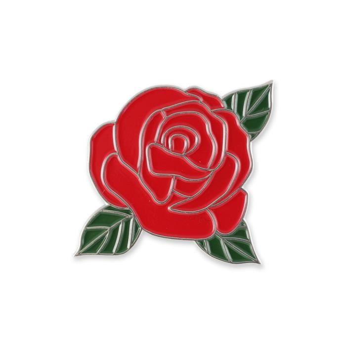 Femmes Fleur De Rose Rouge Avec Des Feuilles Vertes Email Epinglette