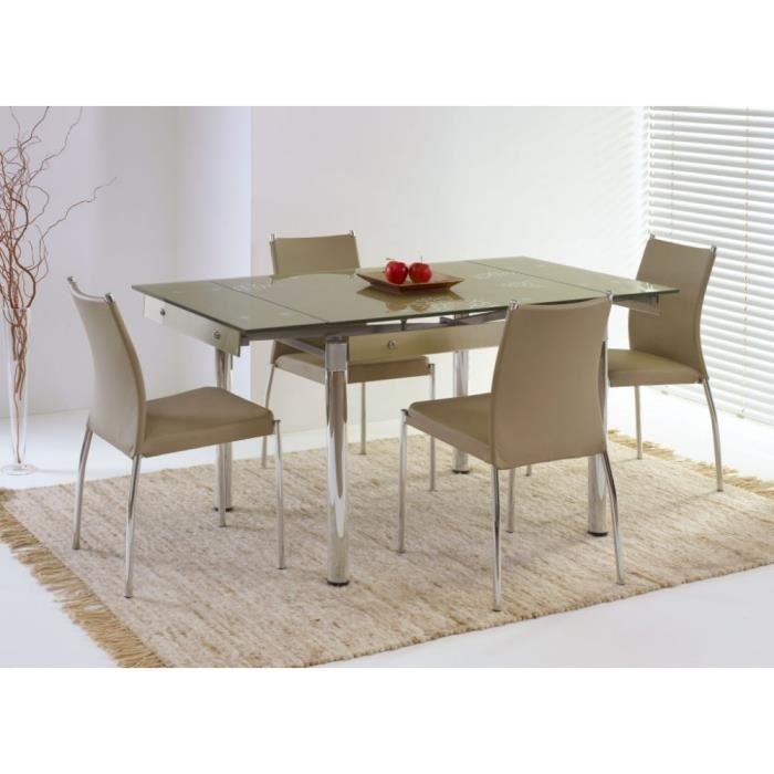JUSThome Table de salle à manger Elton extensible en Verre Beige ...