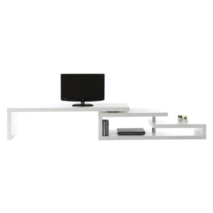 Miliboo meuble tv design laqu blanc pivotant achat for Meuble tv coulissant