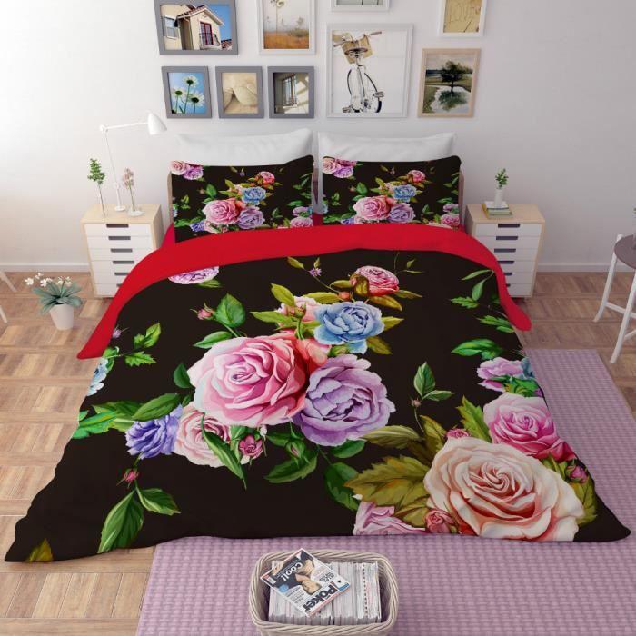 Grand Parure De Lit Fleurs Colorées Et Belles Au Fond De Noir 200*230 Cm 4 Pieces