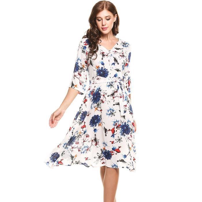 robe v-cou imprime une ligne ourlet plissé avec ceinture