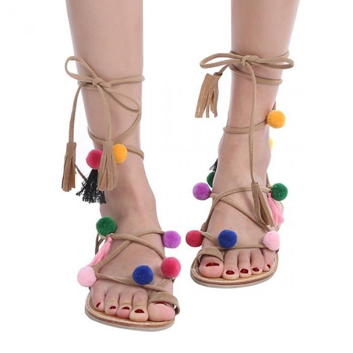 Sandales décorées à talon plat et gladiateur