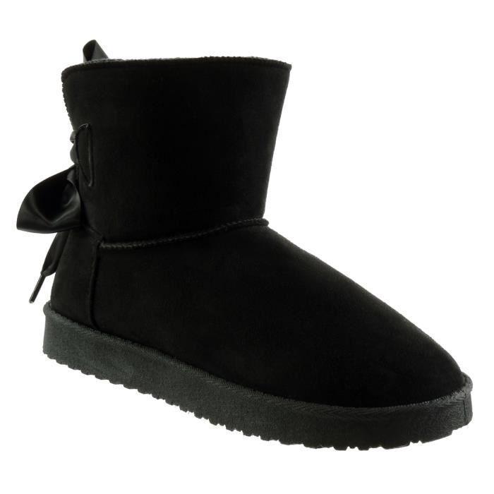 Angkorly - Chaussure Mode Bottine bottes de neige femme Lacet ruban satin Talon plat 2.5 CM - Intérieur Fourrée - Noir - RW768 T 41