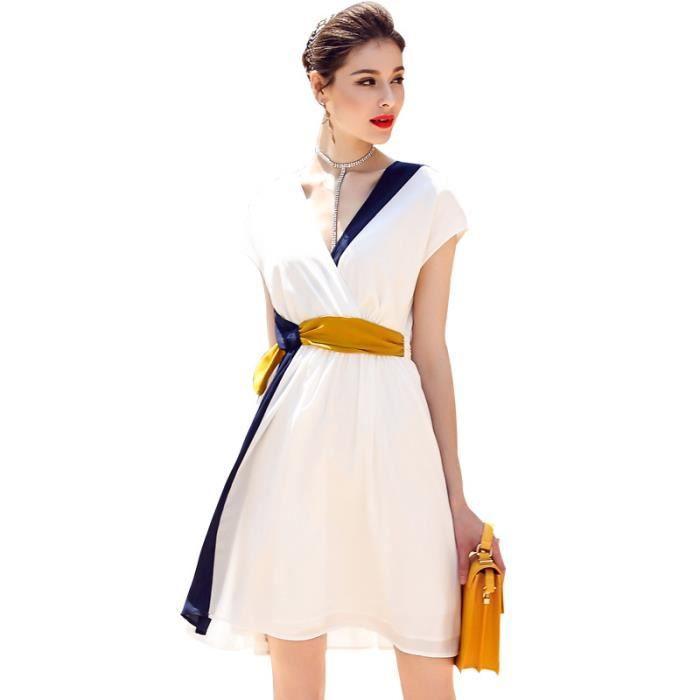 Robe de couture femmes de col en V mode de couleur unie en sans manches