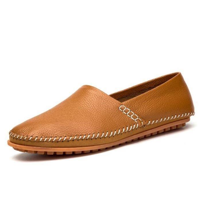 45 Homme Personnalité Moccasin Chaussures 38 Classique Moccasins Taille Nouvelle Rétro Unie Tendance Couleur Cuir Loisirs ALjc53Rq4