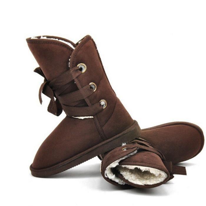 Botte Femmes De Marque De Luxe Haut Qualité Chaussures de doublure en laine Confortable Plusieurs Couleurs 35-40