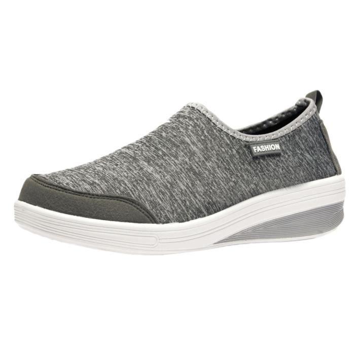 Femmes Gris Loisirs Lumire Sneakers Femme Chaussures Plat Mesh Respirant Fond Sport g6Owg7qr