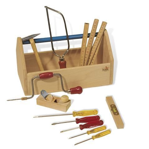trousse outils en bois avec 11 outils pour jouer achat. Black Bedroom Furniture Sets. Home Design Ideas