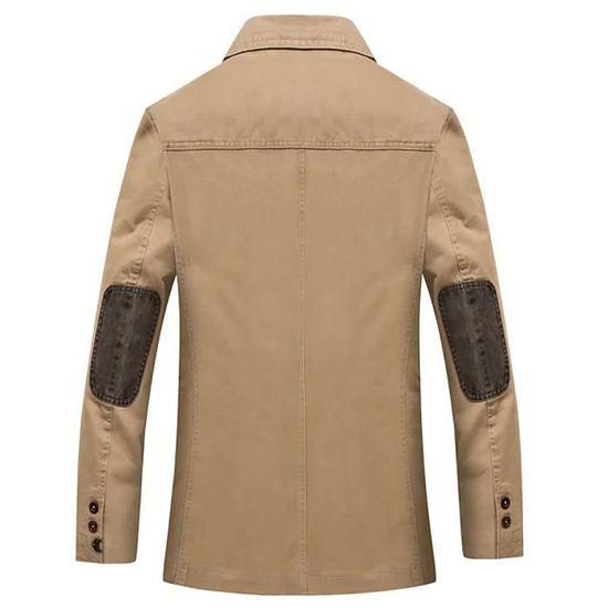 Homme Pas Ne Longue Coton Veste Col Masculin breasted Taille Encapuchonné Rabattu Mode Grande Vêtement Single Loisir Awdxxqvp