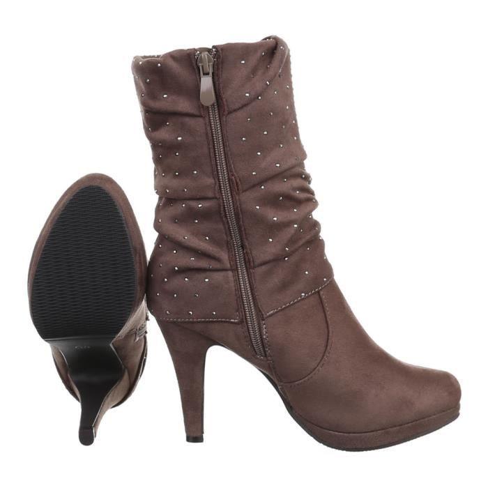 femme botte chaussure High Heels bottine marron
