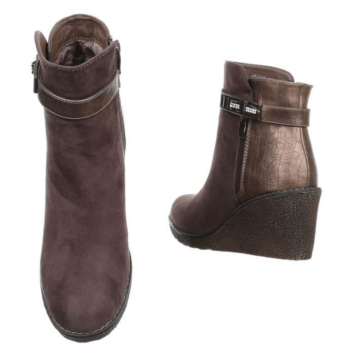 femme bottine chaussure Boots par strass marron neWbW6d