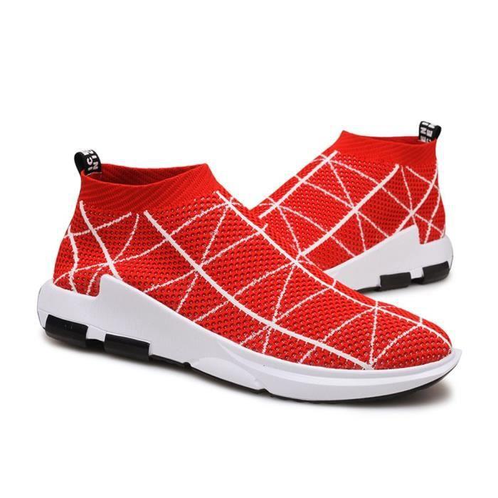 Casual marche léger haut de chaussettes cheville Chaussures respirant Sneaker Knit IFSKE 42
