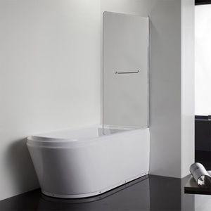 CREAZUR Pare baignoire pivotant Murphy 6mm 90 cm avec poignée porte serviette