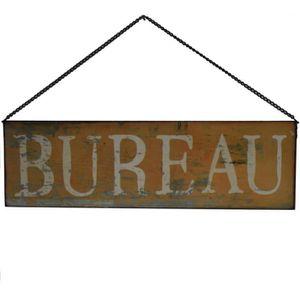 OBJET DÉCORATION MURALE Plaque Enseigne de Porte Bureau Jaune 50 cm x 15 c