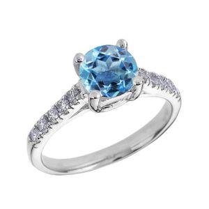 BAGUE - ANNEAU Bague Femme 10 Ct Or Blanc Diamant Et Bleu Topaze